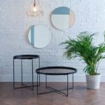 ANZIO SMALL ROUND TABLE IN SATIN BLACK WITH ROSE GOLD MIRROR TOP