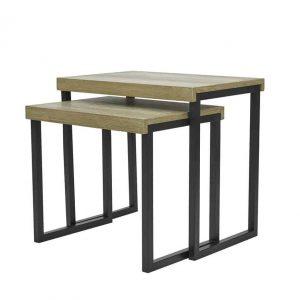 ASTON NEST OF 2 TABLES OAK STYLE VENEER