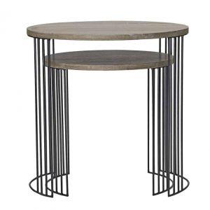 DRUM NEST OF 2 ROUND TABLES OAK VENEER