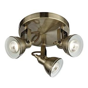 FOCUS 3 LIGHT ANTIQUE BRASS CEILING SPOTLIGHT WITH ROUND PLATE
