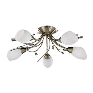 GARDENIA ANTIQUE BRASS 5 LIGHT SEMI-FLUSH WITH OPAL GLASS SHADES