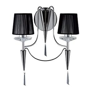 DUCHESS CHROME 2 LIGHT WALL LIGHT WITH BLACK STRING SHADE