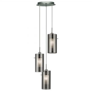 DUO 2 CHROME 3 LIGHT MULTI-DROP PENDANT WITH SMOKED GLASS CYLINDER SHADES