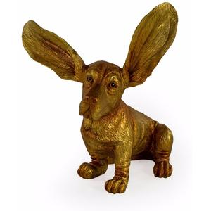 SURPRISED BASSET HOUND ORNAMENT (GOLD)