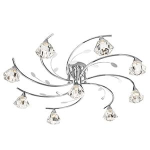 SIERRA CHROME 9 LIGHT SEMI-FLUSH FITTING WITH SCULPTURED GLASS SHADES