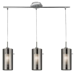 DUO 2 CHROME 3 LIGHT BAR PENDANT WITH DOUBLE GLASS CYLINDER SHADES