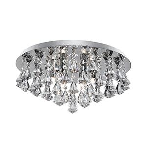 HANNA CHROME 6 LIGHT SEMI-FLUSH WITH DIAMOND SHAPE CRYSTALS