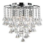 DORCHESTER CHROME 4 LIGHT CHANDELIER WITH CASCADING CLEAR CRYSTAL BUTTONS