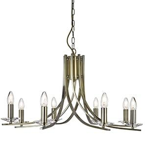 ASCONA ANTIQUE BRASS 8 LIGHT FITTING WITH CLEAR GLASS SCONCES