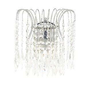 WATERFALL CHROME 2 LIGHT WALL LIGHT WITH CRYSTAL BUTTON & DROPS DECORATION