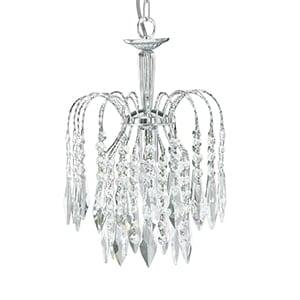 WATERFALL CHROME PENDANT LIGHT WITH CRYSTAL BUTTONS DROPS