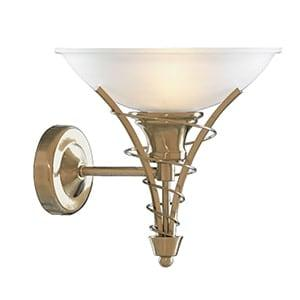 LINEA ANTIQUE BRASS WALL LIGHT WITH TWIST CENTRE & DOME OPAL GLASS