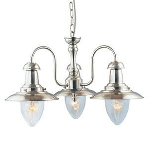 FISHERMAN SATIN SILVER 3 LIGHT FITTING WITH OVAL SEEDED GLASS SHADES