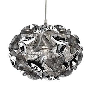 TRIANGLE CHROME PENDANT LIGHT WITH SMOKED ACRYLIC CURVED DETAIL