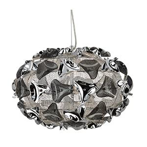 TRIANGLE CHROME 3 LIGHT PENDANT WITH SMOKED ACRYLIC CURVED DETAIL