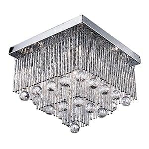 BEATRIX CHROME 5 LIGHT FLUSH FITTING WITH CRYSTAL DROPS