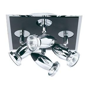 COMET DIE CAST ALUMINIUM CHROME & BLACK 4 LIGHT SPOTLIGHT (ADJUSTABLE HEADS)