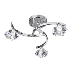 SCULPTURED ICE CHROME 3 LIGHT CURVED SEMI-FLUSH FITTING WITH CLEAR GLASS