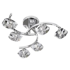 SCULPTURED ICE CHROME 6 LIGHT, SEMI-FLUSH FITTING WITH CLEAR GLASS