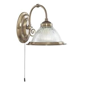 AMERICAN DINER ANTIQUE BRASS 1 LIGHT WALL LIGHT WITH CLEAR RIBBED GLASS