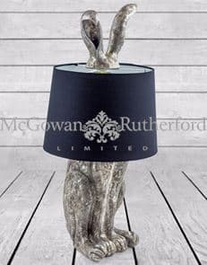 ZEE – ANTIQUE SILVER RABBIT EARS LAMP WITH BLACK SHADE