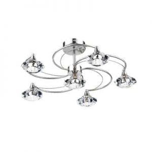 LUTHER 6 LIGHT SEMI FLUSH SATIN CHROME