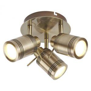 SAMSON 3 LIGHT IP44 BATHROOM SPOT PLATE, ANTIQUE BRASS