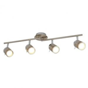 SAMSON 4 LIGHT IP44 BATHROOM SPOT SPLIT-BAR, SATIN SILVER