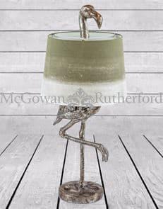 ZEE- ANTIQUE SILVER FLAMINGO TABLE LAMP SAGE FADE SHADE