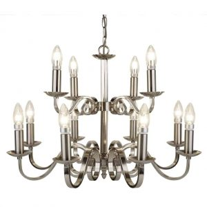 RICHMOND SATIN SILVER 12 LIGHT CEILING FITTING WITH CANDLE STYLE SCONCES