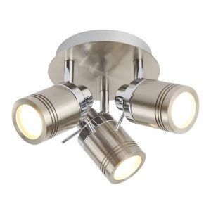 SAMSON 3 LIGHT IP44 BATHROOM SPOT PLATE,CHROME & SATIN