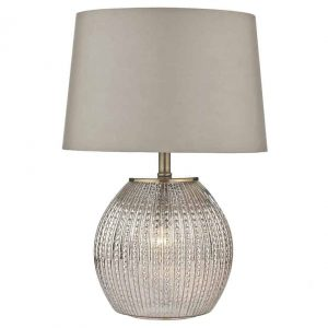 SONIA TABLE LAMP ANTIQUE SILVER COMPLETE WITH ILLUMINATED BASE