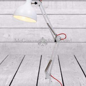 ZEE- MATT WHITE TRADITIONAL DESK LAMP (RED FABRIC FLEX)