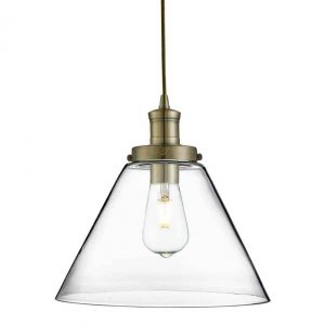 PYRAMID ANTIQUE BRASS PENDANT LIGHT WITH CLEAR GLASS SHADE