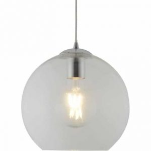 BALLS 1 LIGHT ROUND PENDANT (25CM DIA), CLEAR GLASS, CHROME