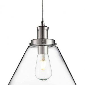PYRAMID CHROME PENDANT LIGHT WITH CLEAR GLASS SHADE