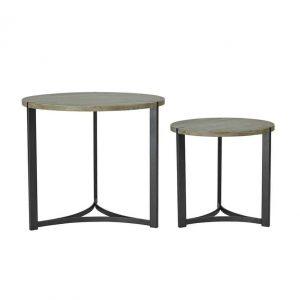 DIVIZES NEST OF 2 ROUND TABLES OAK STYLE VENEER