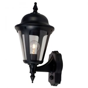 LATINA POLYCARBONATE WALL LANTERN WITH PIR 42W BLACK