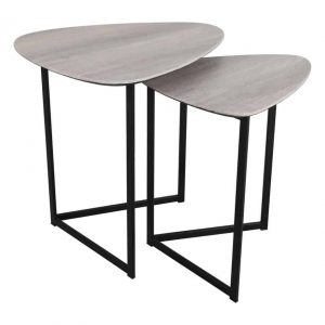 MIBELLO NEST OF 2 SIDE TABLES SILVERED OAK