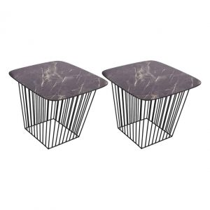 Veila Pack Of 2 Dark Marble Tables