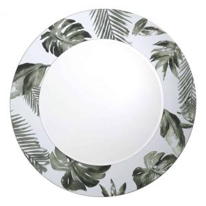 SYAGRUS ROUND MIRROR WITH PALM TREE PRINT DETAIL 80CM