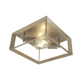 HEATON 2LT CEILING LIGHT, BRUSHED SILVER GOLD FINISH