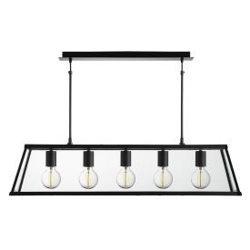 VOYAGER MATT BLACK 5 LIGHT LANTERN BAR LIGHT WITH CLEAR GLASS PANELS