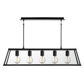 VOYAGER MATT BLACK 5 LIGHT LANTERN BAR LIGHT WITH CLEAR GLASS PANELS
