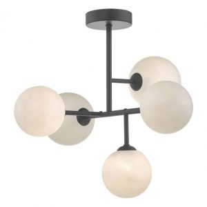 Euan 5lt Semi Flush Black & Opal Glass