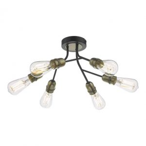 Remy 6 Light Semi Flush Black/Antique Brass with LED Squirrel Bulbs