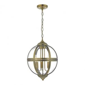 Vanessa 3 Light Pendant Antique Brass And Clear Glass