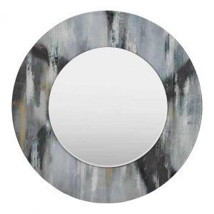 Mehera Round Mirror Grey Marble Print