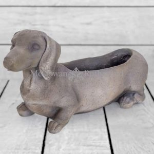 GREY DACHSHUND DOG PLANTER