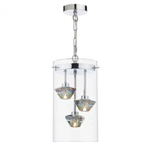 Decade 3 Light Pendant Polished Chrome Glass